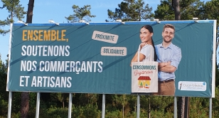 Image bâche promouvoir le commerce local